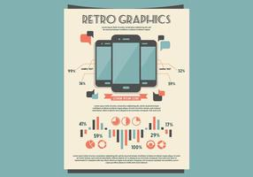 Retro Mobile Grafer och Tabeller Kit Vector