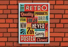Retro Poster on a Brick Wall Vector