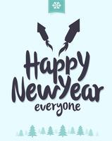 Wintry Feliz Año Nuevo Vector