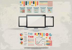 Retro Office Graphs and Tables Kit Vector