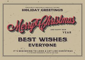 Classic Merry Christmas Postcard Vector