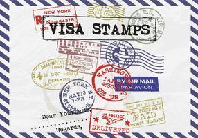 Visto selos de porte postal vetor