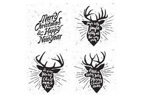 Snowy Reindeer Collection Vector