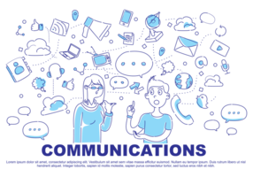 Comunication Gekritzel Vektor-Illustration
