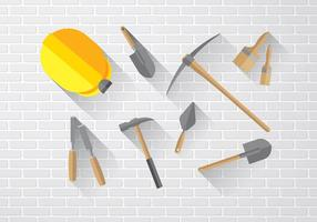 Masonry Icon Set Flat Free Vector