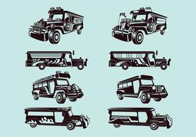Set Vector Illustratie van Jeepney