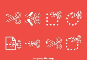 Scissor Cutting Line Icons Vektor Set