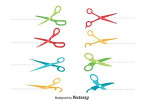 Colorful Scissor Cut Lines Vector Set