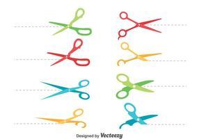 Colorido Scissor líneas de corte conjunto de vectores