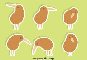 Gullig Kiwi Fågel Vector Set