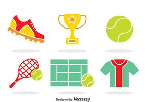 Tennis Element Icons Vector
