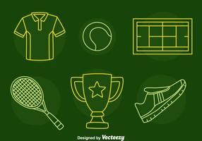 Tennis lijn iconen vector
