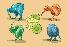 Image vectorielle de Nice Kiwi Birds and Kiwi Fruits