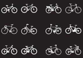 Silhouette Of Various Kinds Of Bicycle