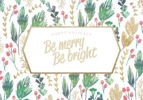 Gold Glitter Holiday Card Vector