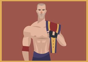 Luchador con el vector de la correa del campeón de lucha