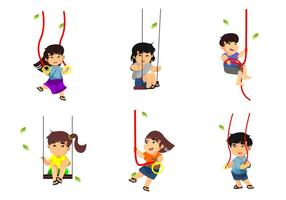Kids Playing Rope Swings Vector Illustration