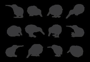 Silhuetas de pássaros de quivi