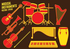 Musical instruments Icons vector