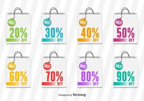 Shopping Bag Sale Vector Tags