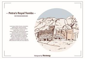 Petra's Royal Tombs Vector Background