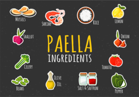 Ilustración Paella Ingredients