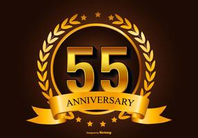 Golden 55th anniversary illustration