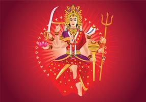 Vector Illustration of Goddess Durga in Subho Bijoya