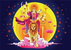 Vector Illustration of Goddess Durga in Subho Bijoya