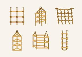 Escala de cuerda nudo madera escaleras vector de stock