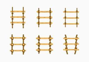 Échelle de corde, noeud, bois, escalier, vecteur, stock
