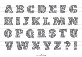 Lápiz garabato Vector Alfabeto