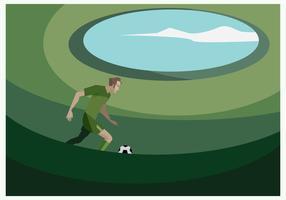 Un jugador de fútbol en el campo de fútbol vectorial