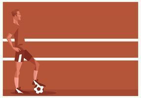 Jugador de fútbol permanente delante de fondo rojo Vector