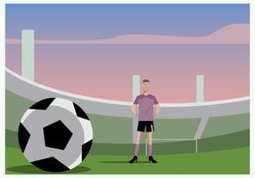 Futbolista, posición, fútbol, suelo, vector