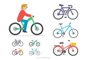 Flat Bicycle Vector Icons