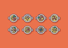 Paella Icon Vector Set