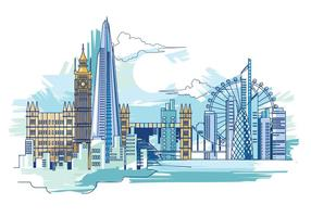 Vektor-Illustration Der Scherbe und die London Skyline