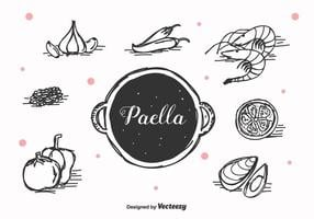 Hand gezeichnet Paella Vektor
