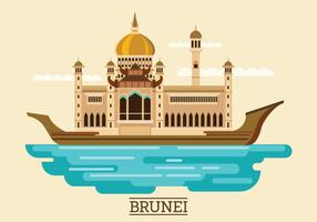 Vector Illustration of Sultan Omar Ali Saifuddien Mosque in Brunei