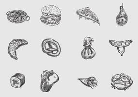 Vecteur handdrawn of food
