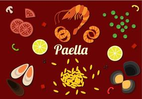 Paella Ingredienser Gratis Vector