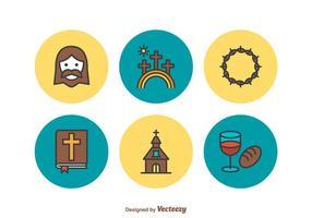 Ícones vetoriais de linha plana da Semana Santa grátis