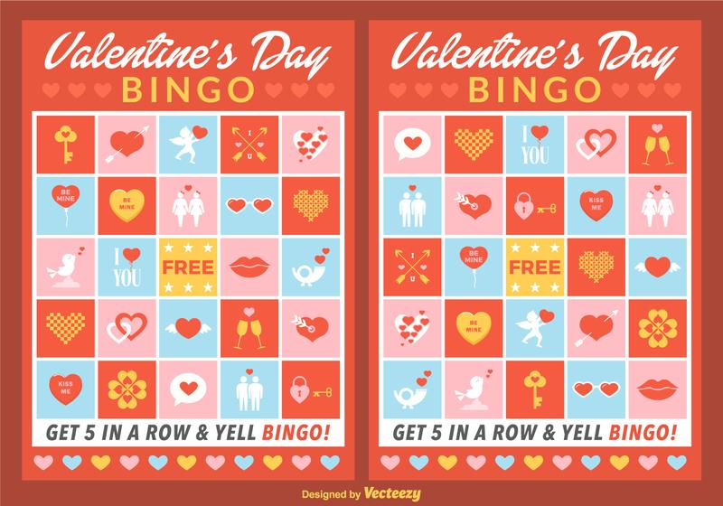 Vector Valentine Bingo Cards Download Free Vector Art – Valentines Day Bingo Cards