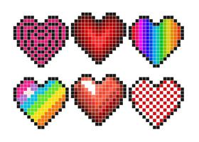 Vector Set Of Pixel Hearts