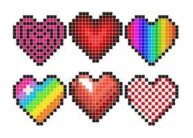 Conjunto de vetores de corações de pixel