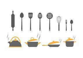 Kostenlose Küchenutensilien Vektor-Icons vektor