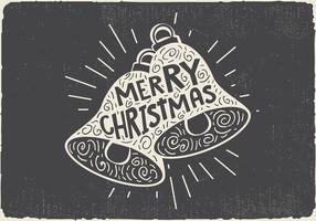 Free Vintage Hand Drawn Christmas Bell With Lettering vector