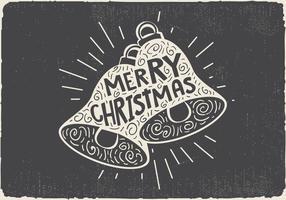 Mano de la vendimia a mano dibujada campana de Navidad con letras