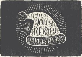 Free Vintage Hand Drawn Christmas Hat With Lettering vector